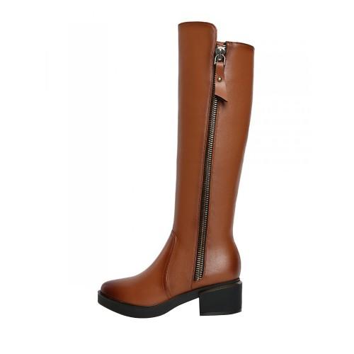 64072a6fc أحذية طويلة الي الركبة ذات كعب سميك و سحاب