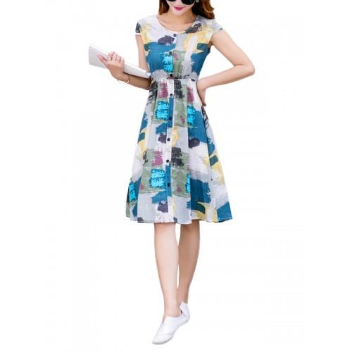 فستان رشيق بطباعة روعة كم قصير تصميم كلاسيكي