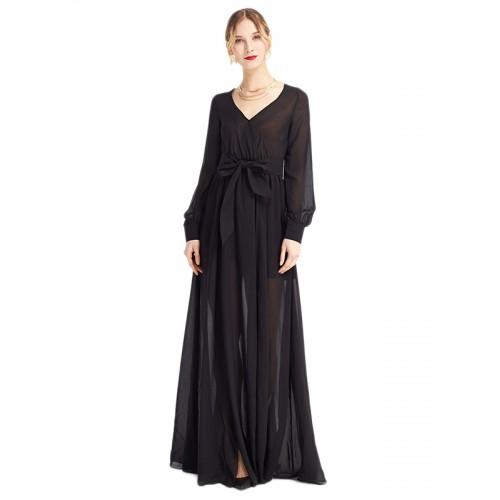فستان طويل أسود بتصميم مريح