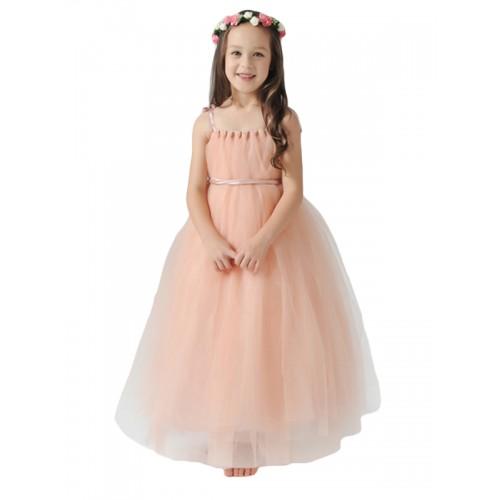 999f5ab9eb0da ملابس للأطفال فستان الأميرة بنّاتي للمناسبات ساده أنيق مع حزام الخصر