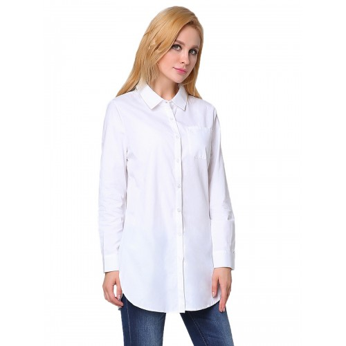5f0e0e33a6396 قميص حريمي أبيض طويل بياقة مطوية