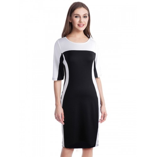 فستان متوسط الطول نصف كم بلون سادة