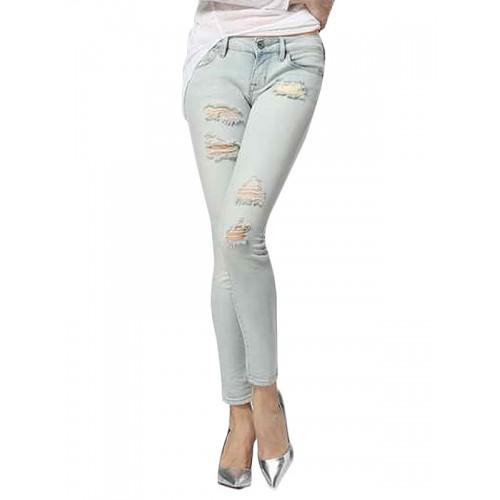 ee13b4d6da980 سروال جينز طول كامل تصميم مثقوب