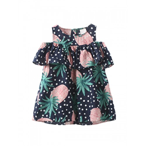 d48456e57ca1f ملابس الأطفال فستان بنّاتي جميل نمط نقاط طبعة فاكهة الأناناس