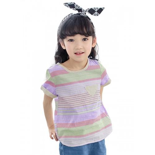 3bc39c0e1fe41 ملابس أطفال تيشيرت مخطط بالالوان بأكمام قصيرة وفتحة رقبة دائرية