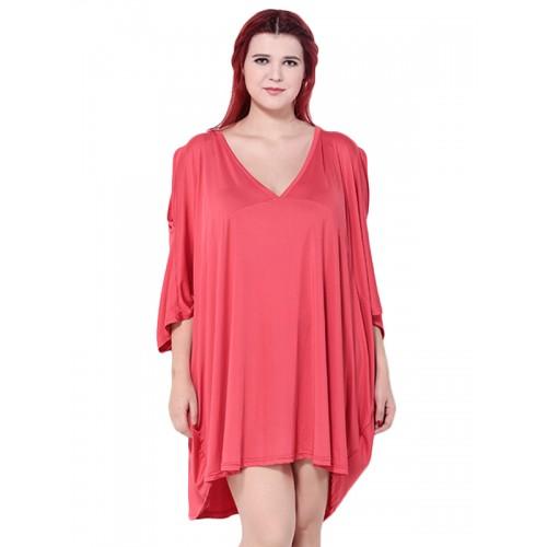فستان قصير بأكمام فراشة